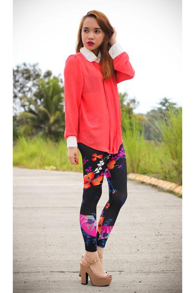 black pinkaholic leggings - salmon button down blouse - tan heels