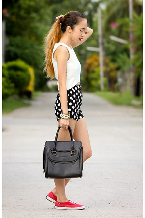 black Maxenes bag - red Keds shoes - black Black Five shorts