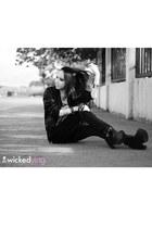 black boots - black jacket - white Forever 21 top - black pants