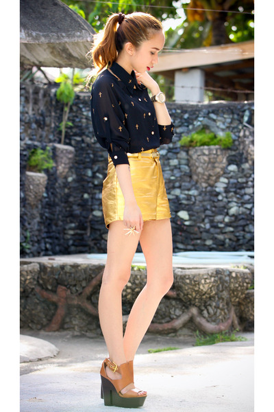 gold metallic shorts - burnt orange Topshop wedges