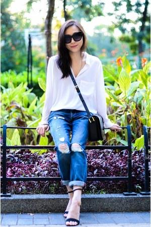 white sheer Zara blouse - navy boyfriend jeans Boyfriend jeans jeans