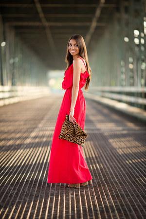 red Forever 21 dress - Clare Vivier bag