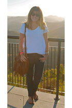 dark brown H&M bag - navy Forever 21 jeans - white Gap t-shirt