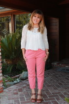 salmon Gap pants - white Urban Outfitters shirt - brown Steve Madden heels