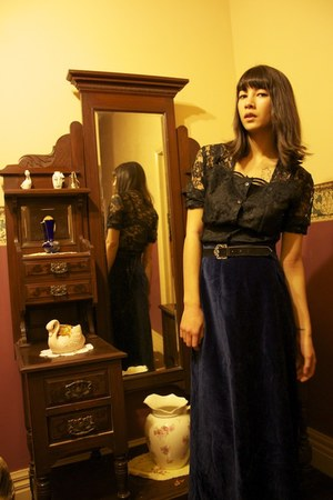 lace wild hearts vintage blouse - velvet wild hearts vintage skirt