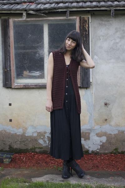 leather tony bianco boots - maxi wild hearts vintage dress - crochet wild hearts