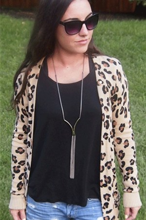 Wild Lilies Jewelry necklace - cheetah print Victorias Secret sweater