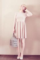 neutral silver thread Topshop dress - neutral thrifted heels
