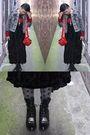 Red-diy-studded-bag-silver-gift-necklace-gray-deborah-k-jacket-black-thrif