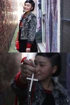 red DIY studded bag - silver gift necklace - gray Deborah K jacket - black thrif