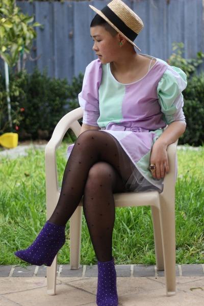 purple DIY dress - purple Novo shoes - beige Ebay hat - beige