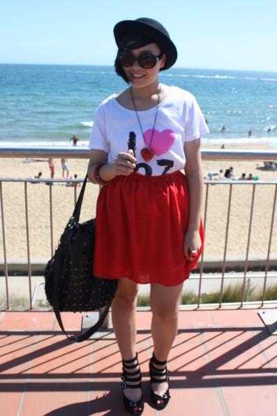red DIY skirt - white cotton on t-shirt - black Deborah K accessories - black Da