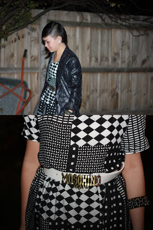 black DIY dress - black diva bracelet - white fake Moschino belt - black Dangerf