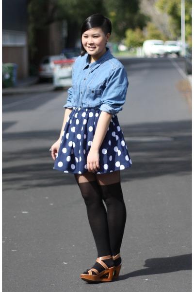 blue thrifted shirt - blue DIY skirt - black thepeasknees tights - orange thrift