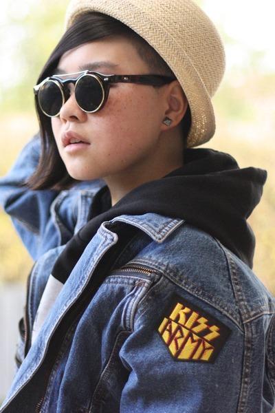 blue vintage jacket - beige Dangerfield hat - black Ebay sunglasses