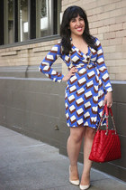 blue Diane Von Furstenberg dress - ruby red quilted kate spade purse