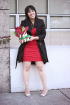 red basuto Diane Von Furstenberg dress - black princess coat Steve Madden jacket