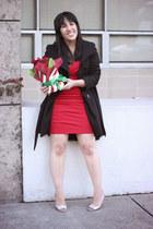 red basuto Diane Von Furstenberg dress - black princess coat Steve Madden jacket