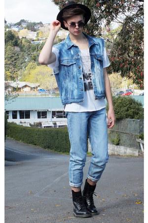 acid wash jacket - Dr Martens boots - calvin klein jeans - fedora hat