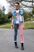 american flag lip service jeans - Dr Martens boots - acid wash Levis jacket