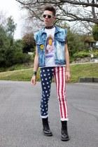 american flag lip service jeans - Dr Martens boots - acid wash Levis jacket