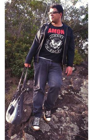 black Ricardo Ribeiro jacket - charcoal gray By Will J Santos bag