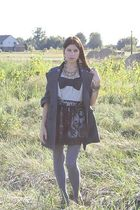 black Forever 21 skirt - silver Forever 21 blouse - gray Forever 21 tights
