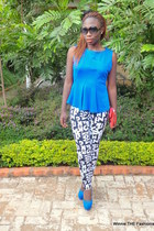 blue peplum MrPrice top - black letter-printed MrPrice leggings
