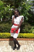black stockings - white dress - red clutch bag - red belt - black ballet flats