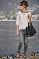 black alexa bag - silver Zara shirt