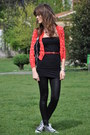 Black-american-apparel-dress-black-stella-mccartney-bag-red-mango-cardigan