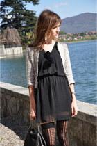 black Zara dress - silver Zara jacket - black Stella McCartney bag