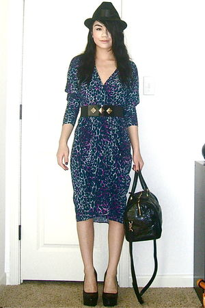 bcbg max azria dress - obey hat - unknown brand belt - Bebe shoes - Louis Vuitto