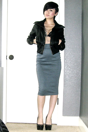 Polo Club jacket - calvin klein bra - BDG skirt - Bebe shoes - thrifted necklac