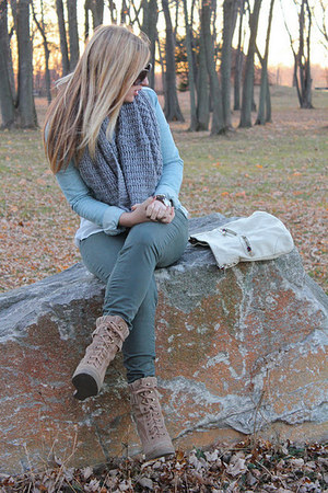 camel Aldo boots - sky blue H&M jacket - charcoal gray H&M scarf