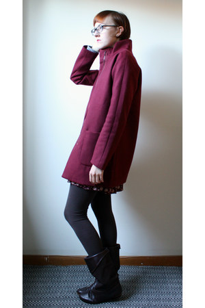 dark brown vintage boots - crimson vintage dress - crimson Old Navy coat