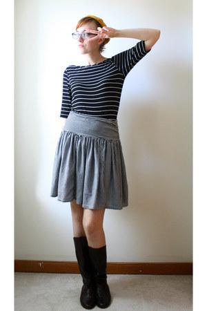 mustard beret vintage hat - dark brown etsy vintage boots - black TJ Maxx top
