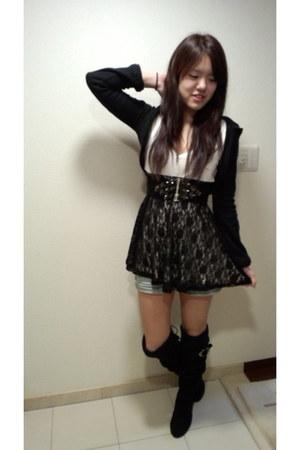 black lace dress lip service dress - black esperanza boots - black Backs hoodie