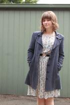 off white floral vintage dress - navy Dangerfield coat - black vintage belt