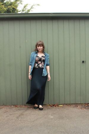 navy maxi Brandy & Melville skirt - sky blue vintage armani jeans shirt