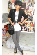 black Zara blazer - white t-shirt - gray Cheap Monday jeans - black Converse sho