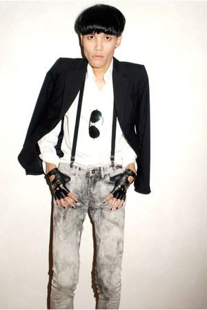 heather gray Mango jeans - black Zara blazer - white Topman shirt - black cut-of