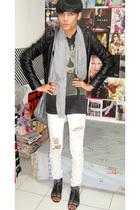 Zara jacket - Junk Food t-shirt - Zara jeans - belle boots - Zara scarf - Zara a