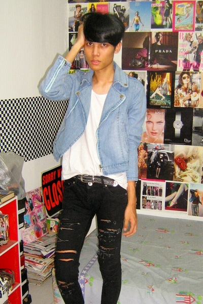 iconia jacket - t-shirt - Mango jeans - vintage belt