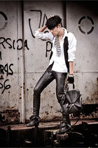 black combat boots Forever21 boots - white Zara shirt - black satchel bag
