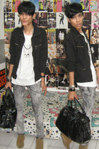 jacket - Junk Food t-shirt - Mango jeans - Minnetonka shoes - accessories - Fore