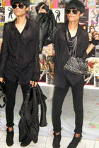 black buckles Zara boots - black Zara jeans - black bikers Zara jacket - black s