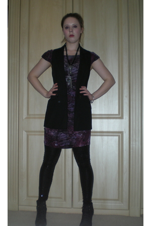 red Love dress - black River Island blazer - black TKmaxx leggings - black River