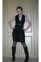 white H&M t-shirt - black River Island jacket - black warehouse skirt - beige Pe