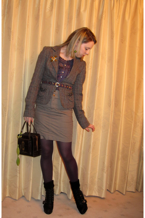 gray Zara blazer - blue Zara blouse - green Zara skirt - green TKmaxx accessorie